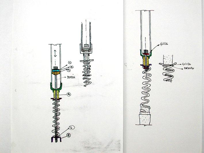 Croquis del diseño de la horquilla Bianchi realizado por Imbris
