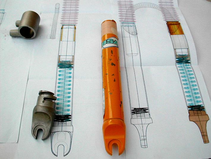 Prototipo del diseño de la horquilla Bianchi realizado por Imbris