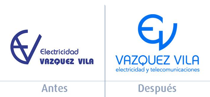 Antes y después del diseño de la nueva imagen de Vazquez Vila por Imbris