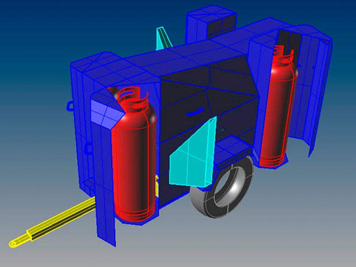 Modelo 3D del diseño máquina agrícola TPC realizado por Imbris