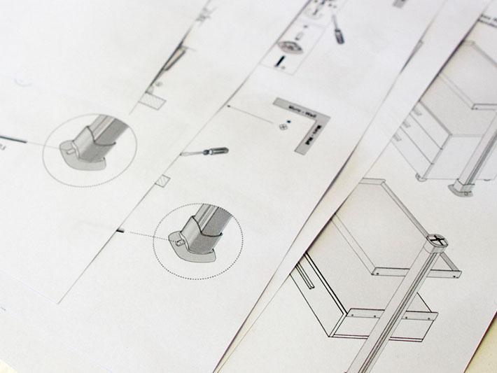Planos del diseño mobiliario Zyta realizado por Imbris