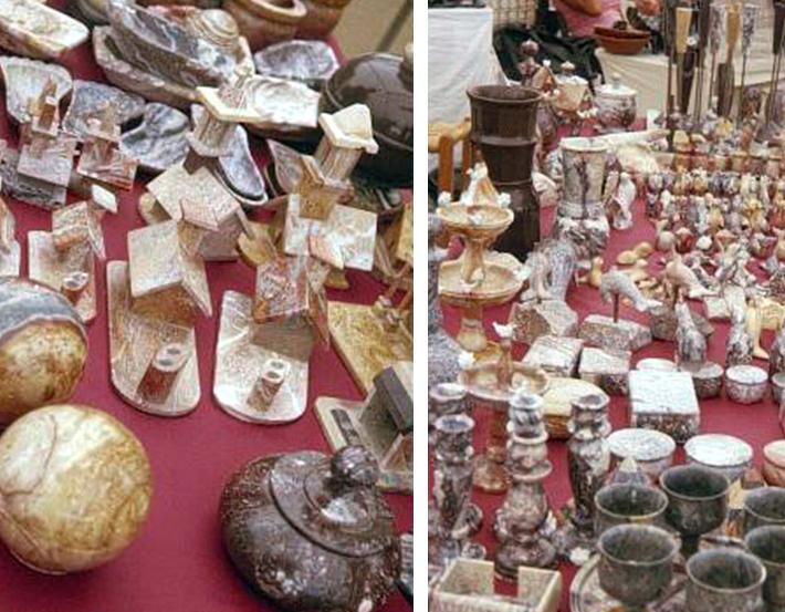 Ejemplos tradicionales del diseño en piedra combarbalita
