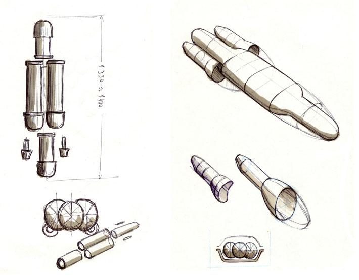 Croquis del diseño del submarino CETMAR realizado por Imbris