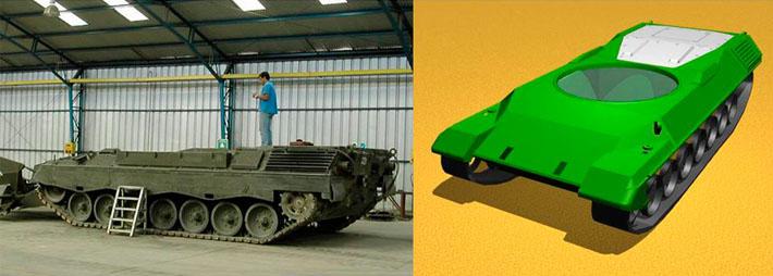 Tanque y modelo 3D del diseño habitáculo de vehículo militar realizado por Imbris