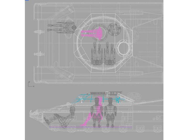 Modelado 3D del diseño habitáculo de vehículo militar realizado por Imbris
