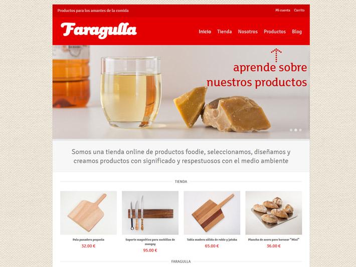 Página web de la tienda Faragulla, productos para los amantes de la comida